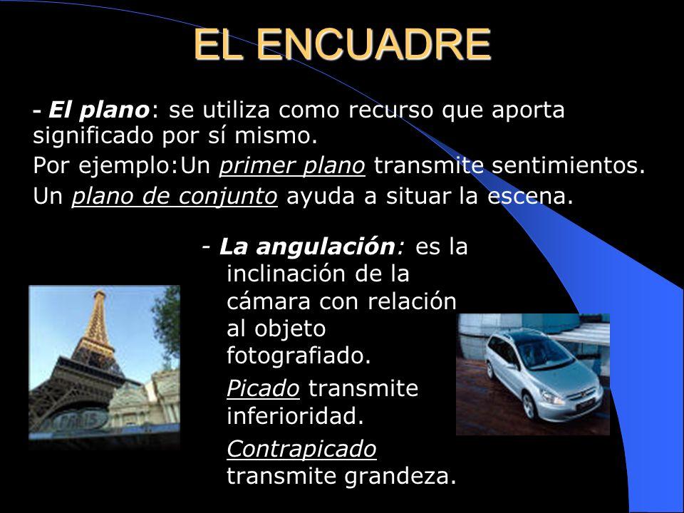 LENGUAJE DE LA IMAGEN El encuadre: la composición de la imagen va a depender de los siguientes factores: - El plano. - La angulación. - La simplicidad