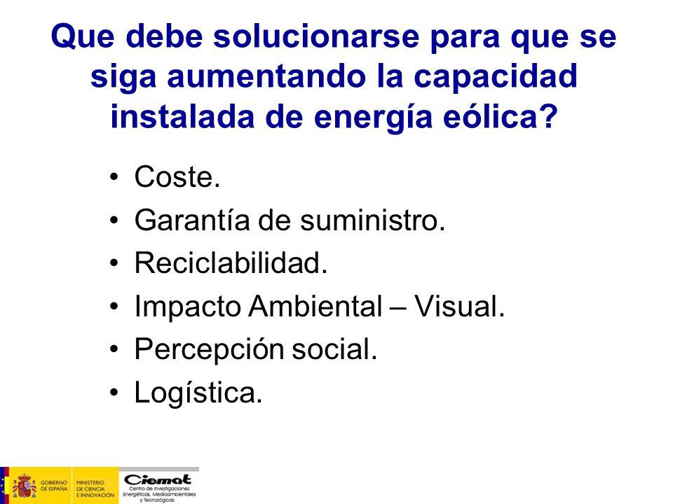 Coste. Garantía de suministro. Reciclabilidad. Impacto Ambiental – Visual. Percepción social. Logística. Que debe solucionarse para que se siga aument
