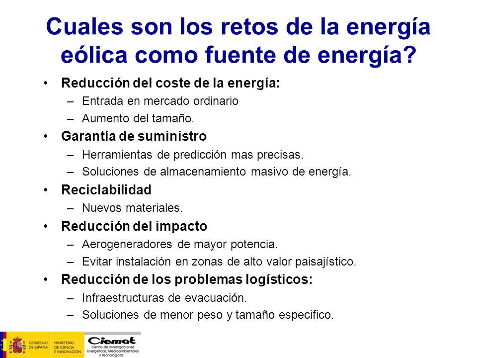 Cuales son los retos de la energía eólica como fuente de energía? Reducción del coste de la energía: –Entrada en mercado ordinario –Aumento del tamaño