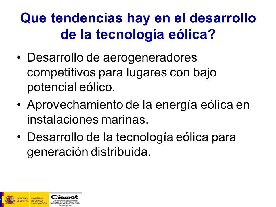 Que tendencias hay en el desarrollo de la tecnología eólica? Desarrollo de aerogeneradores competitivos para lugares con bajo potencial eólico. Aprove