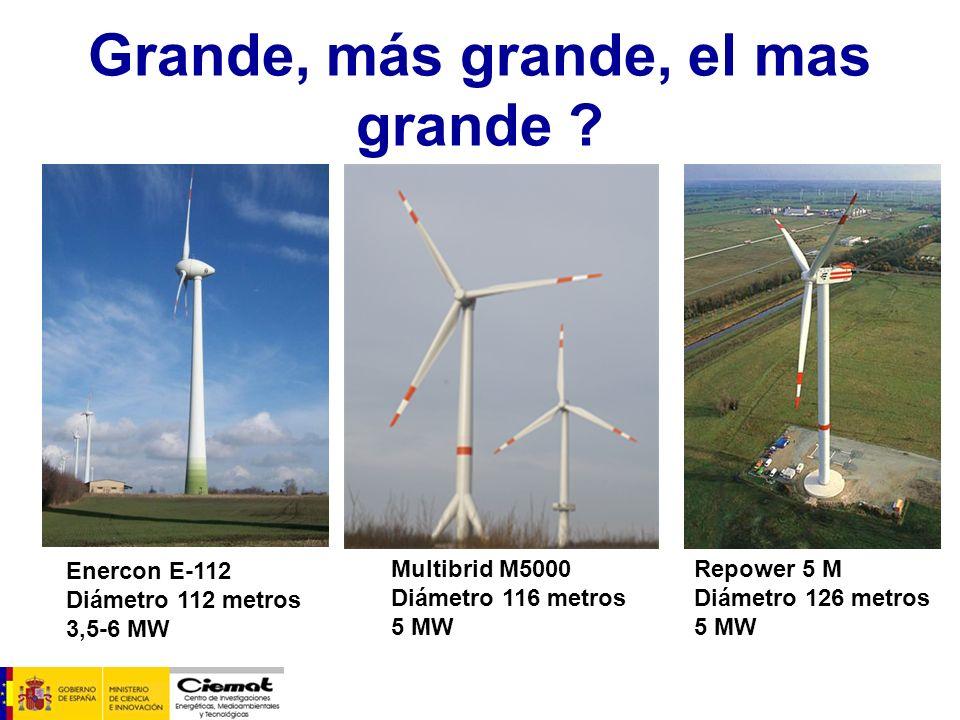Grande, más grande, el mas grande ? Enercon E-112 Diámetro 112 metros 3,5-6 MW Multibrid M5000 Diámetro 116 metros 5 MW Repower 5 M Diámetro 126 metro