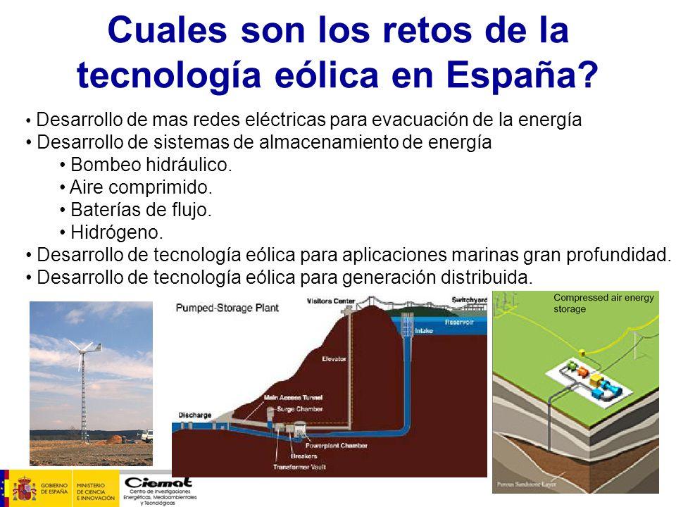 Cuales son los retos de la tecnología eólica en España? Desarrollo de mas redes eléctricas para evacuación de la energía Desarrollo de sistemas de alm