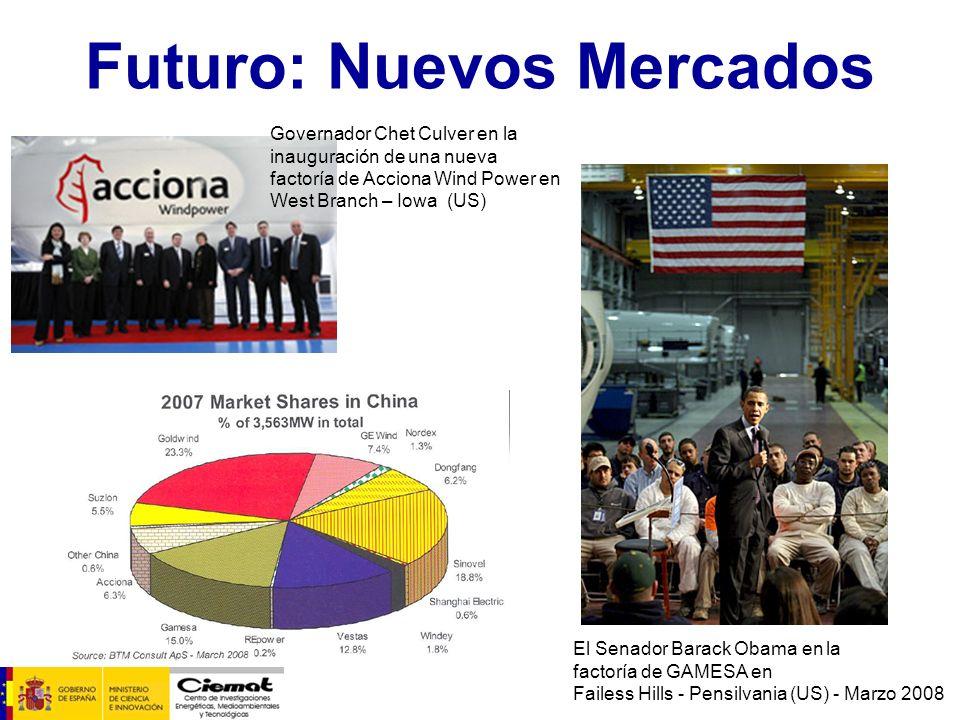 Futuro: Nuevos Mercados El Senador Barack Obama en la factoría de GAMESA en Failess Hills - Pensilvania (US) - Marzo 2008 Governador Chet Culver en la