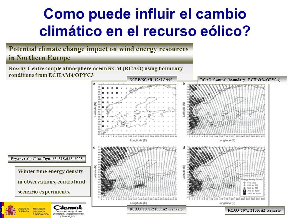 Rossby Centre couple atmosphere-ocean RCM (RCAO) using boundary conditions from ECHAM4/OPYC3 Como puede influir el cambio climático en el recurso eóli