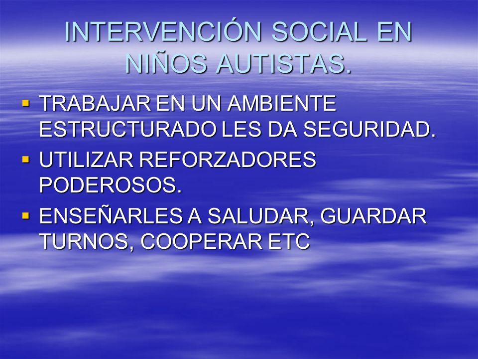 INTERVENCIÓN SOCIAL EN NIÑOS AUTISTAS. TRABAJAR EN UN AMBIENTE ESTRUCTURADO LES DA SEGURIDAD. TRABAJAR EN UN AMBIENTE ESTRUCTURADO LES DA SEGURIDAD. U