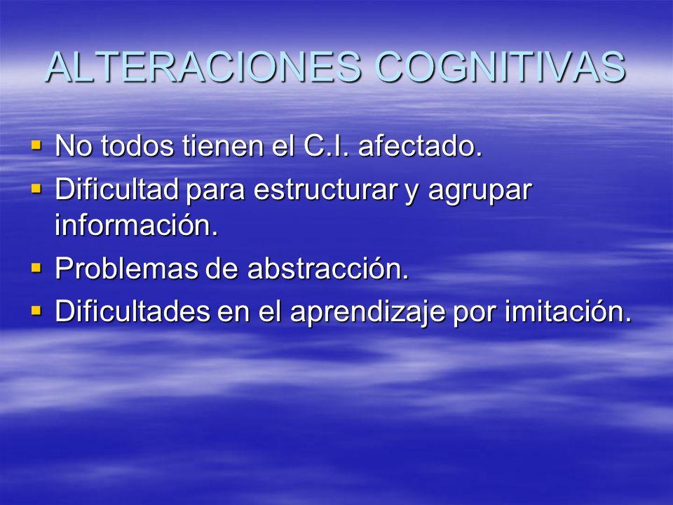 ALTERACIONES COGNITIVAS No todos tienen el C.I. afectado. No todos tienen el C.I. afectado. Dificultad para estructurar y agrupar información. Dificul