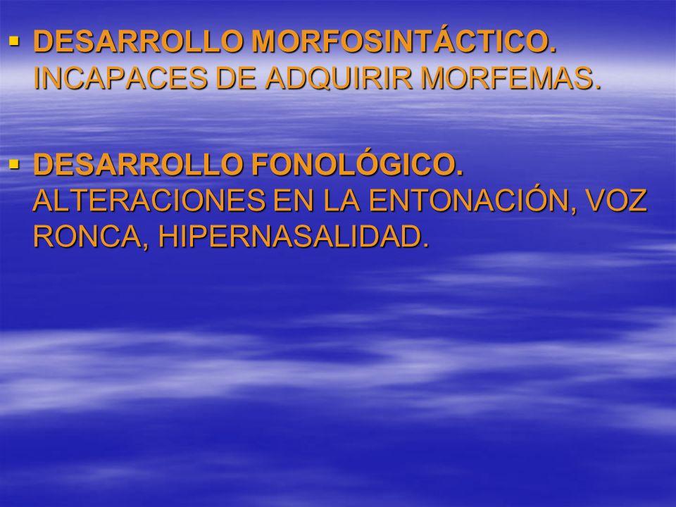 DESARROLLO MORFOSINTÁCTICO. INCAPACES DE ADQUIRIR MORFEMAS. DESARROLLO MORFOSINTÁCTICO. INCAPACES DE ADQUIRIR MORFEMAS. DESARROLLO FONOLÓGICO. ALTERAC