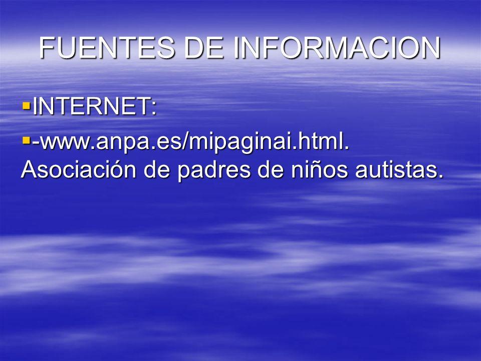 FUENTES DE INFORMACION INTERNET: INTERNET: -www.anpa.es/mipaginai.html. Asociación de padres de niños autistas. -www.anpa.es/mipaginai.html. Asociació