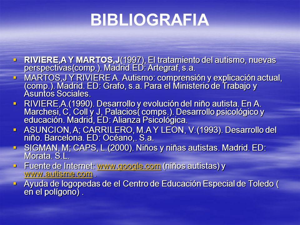 BIBLIOGRAFIA RIVIERE,A Y MARTOS,J(1997), El tratamiento del autismo, nuevas perspectivas(comp.). Madrid.ED: Artegraf, s.a. RIVIERE,A Y MARTOS,J(1997),