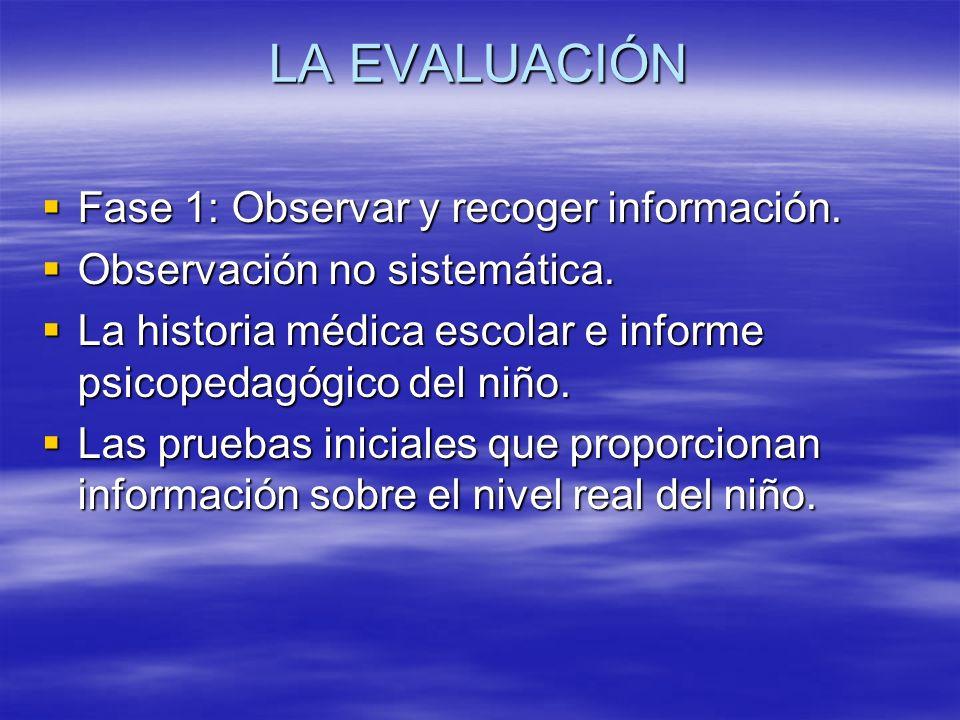 LA EVALUACIÓN Fase 1: Observar y recoger información. Observación no sistemática. La historia médica escolar e informe psicopedagógico del niño. Las p