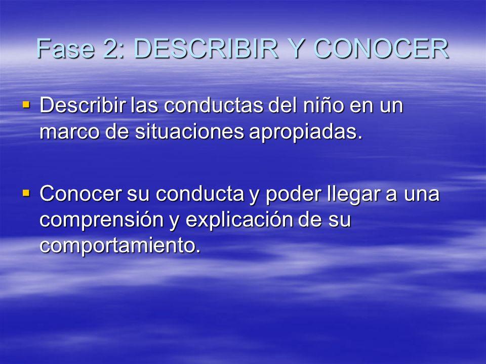 Fase 2: DESCRIBIR Y CONOCER Describir las conductas del niño en un marco de situaciones apropiadas. Conocer su conducta y poder llegar a una comprensi