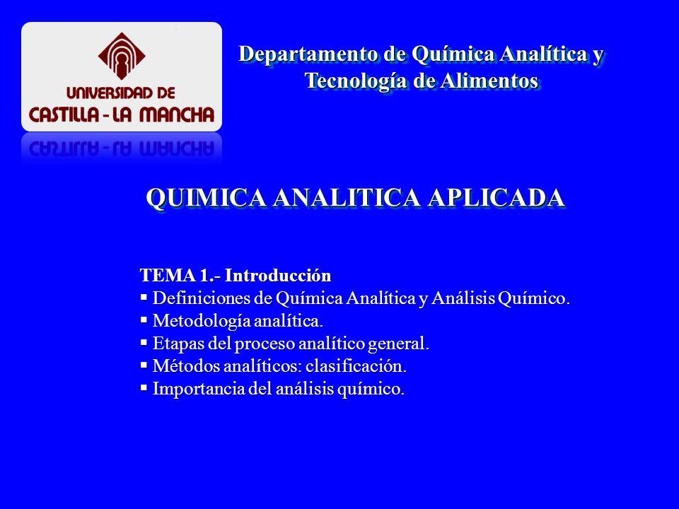 QUIMICA ANALITICA DEFINICIONES DE QUÍMICA ANALÍTICA DEFINICIONES DE QUÍMICA ANALÍTICA METROLÓGICAS METROLÓGICAS Massart : Es es la ciencia de la medida química.