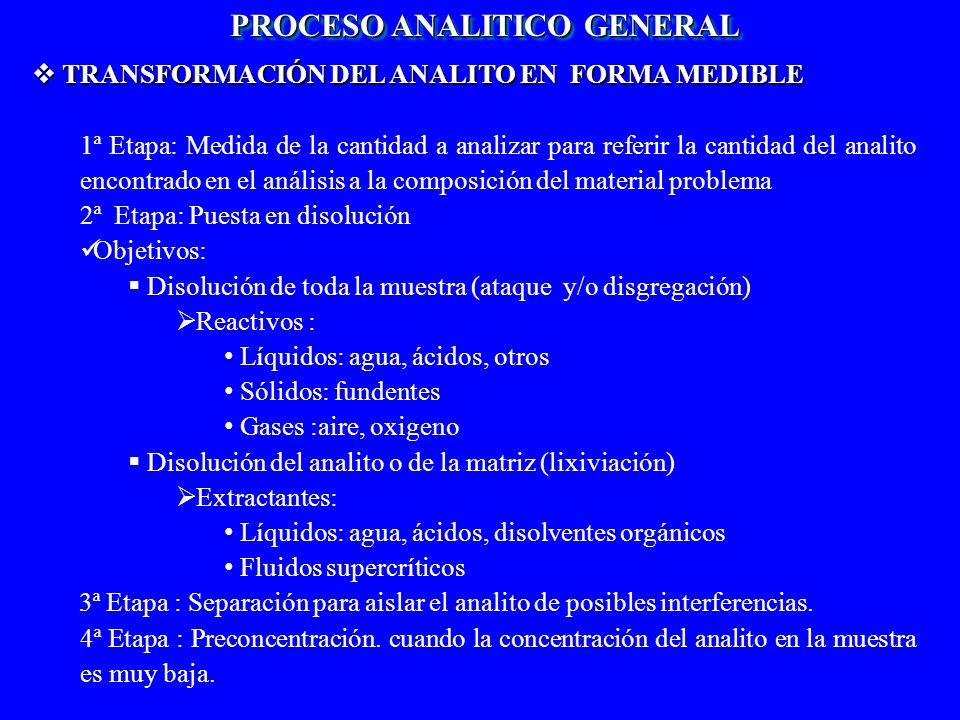 TRANSFORMACIÓN DEL ANALITO EN FORMA MEDIBLE TRANSFORMACIÓN DEL ANALITO EN FORMA MEDIBLE 1ª Etapa: Medida de la cantidad a analizar para referir la can