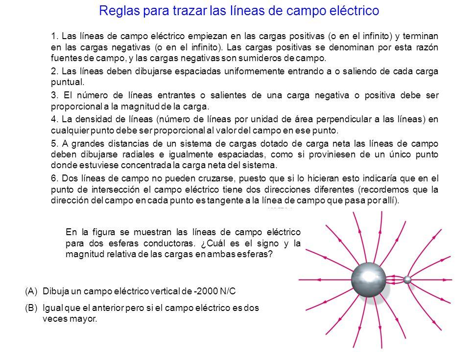 Reglas para trazar las líneas de campo eléctrico En la figura se muestran las líneas de campo eléctrico para dos esferas conductoras. ¿Cuál es el sign