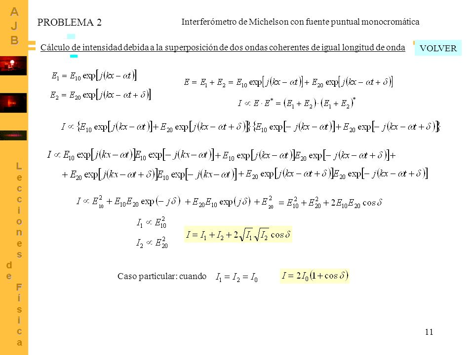 11 Caso particular: cuando Cálculo de intensidad debida a la superposición de dos ondas coherentes de igual longitud de onda VOLVER PROBLEMA 2 Interfe