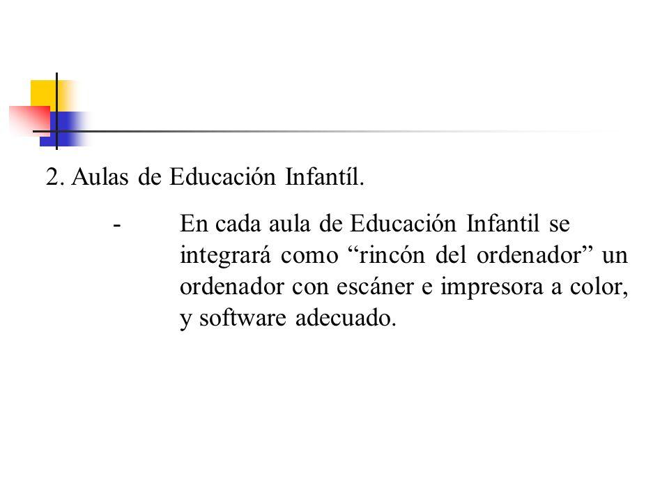 2.Aulas de Educación Infantíl. -En cada aula de Educación Infantil se integrará como rincón del ordenador un ordenador con escáner e impresora a color