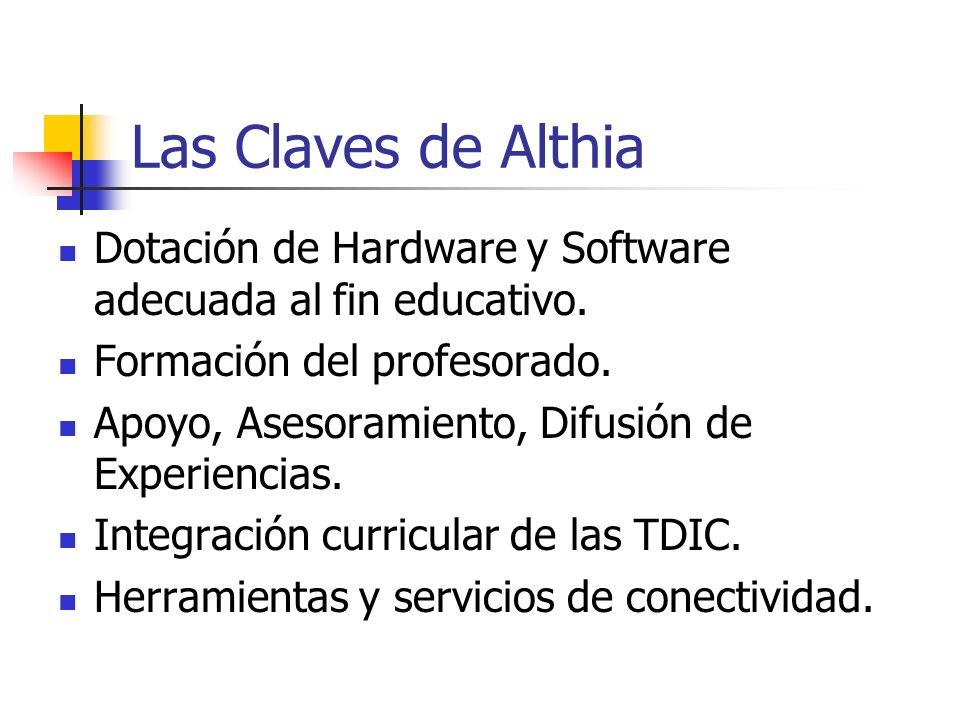 Las Claves de Althia Dotación de Hardware y Software adecuada al fin educativo. Formación del profesorado. Apoyo, Asesoramiento, Difusión de Experienc