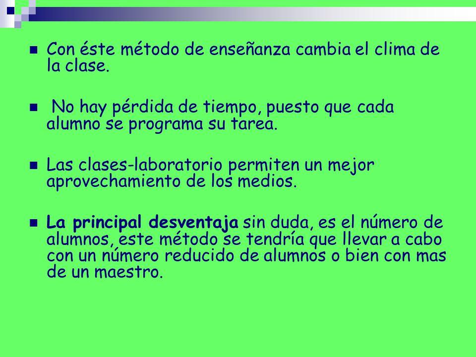 Con éste método de enseñanza cambia el clima de la clase. No hay pérdida de tiempo, puesto que cada alumno se programa su tarea. Las clases-laboratori
