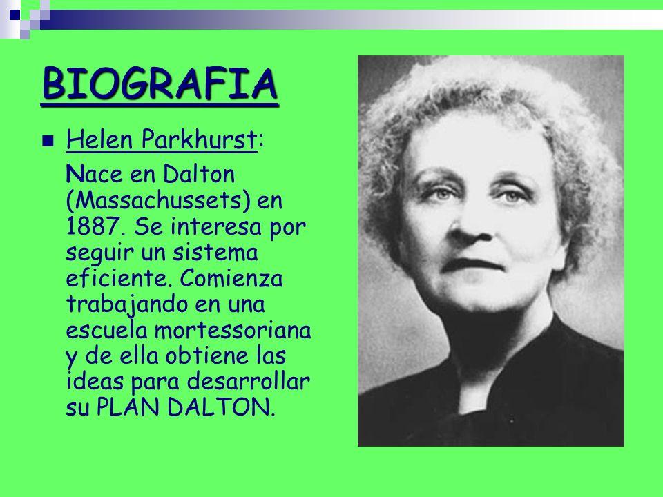 BIOGRAFIA Helen Parkhurst: Nace en Dalton (Massachussets) en 1887. Se interesa por seguir un sistema eficiente. Comienza trabajando en una escuela mor