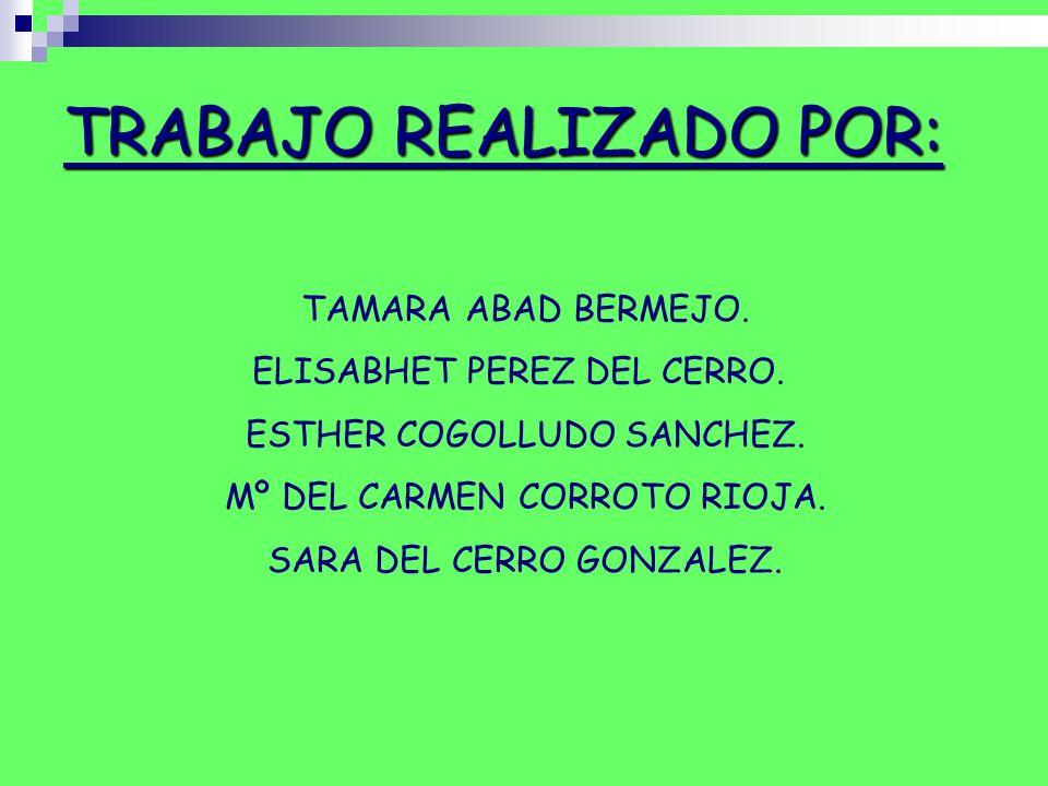 TAMARA ABAD BERMEJO. ELISABHET PEREZ DEL CERRO. ESTHER COGOLLUDO SANCHEZ. Mº DEL CARMEN CORROTO RIOJA. SARA DEL CERRO GONZALEZ. TRABAJO REALIZADO POR: