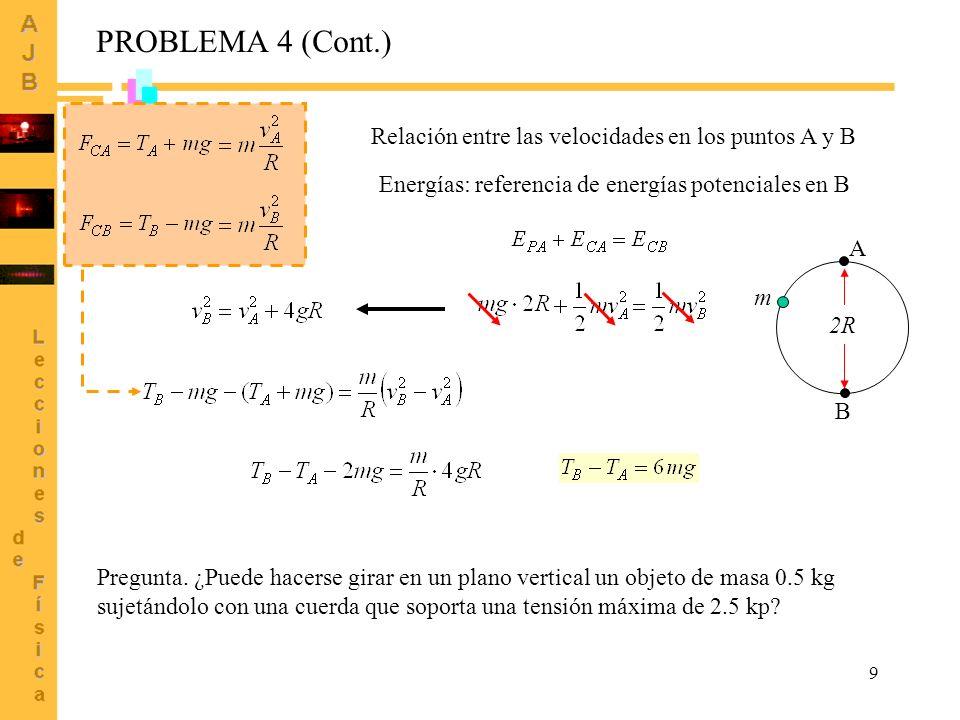 9 PROBLEMA 4 (Cont.) Relación entre las velocidades en los puntos A y B Energías: referencia de energías potenciales en B A B m 2R Pregunta. ¿Puede ha