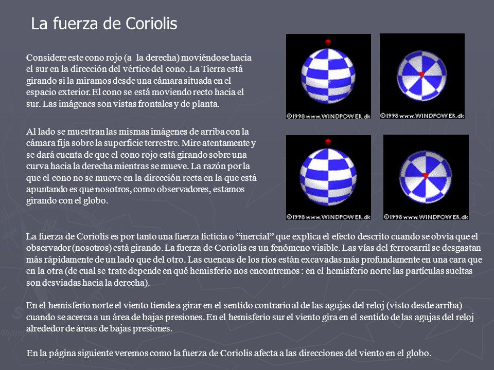 En la página siguiente veremos como la fuerza de Coriolis afecta a las direcciones del viento en el globo. La fuerza de Coriolis es por tanto una fuer