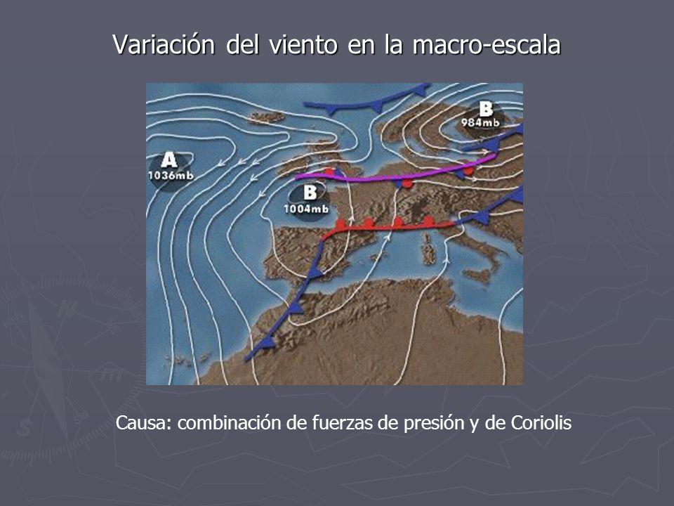 Variación del viento en la macro-escala Causa: combinación de fuerzas de presión y de Coriolis