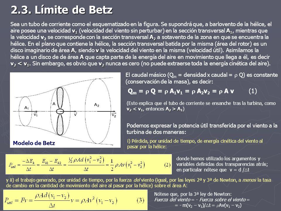 2.3. Límite de Betz v 1 A 1 A 2 Av A v 2 < v 1 v 2 Sea un tubo de corriente como el esquematizado en la figura. Se supondrá que, a barlovento de la hé