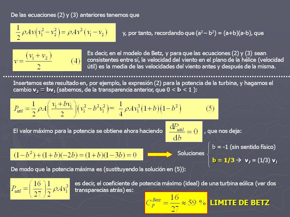 De las ecuaciones (2) y (3) anteriores tenemos que y, por tanto, recordando que (a 2 – b 2 ) = (a+b)(a-b), que Es decir, en el modelo de Betz, y para