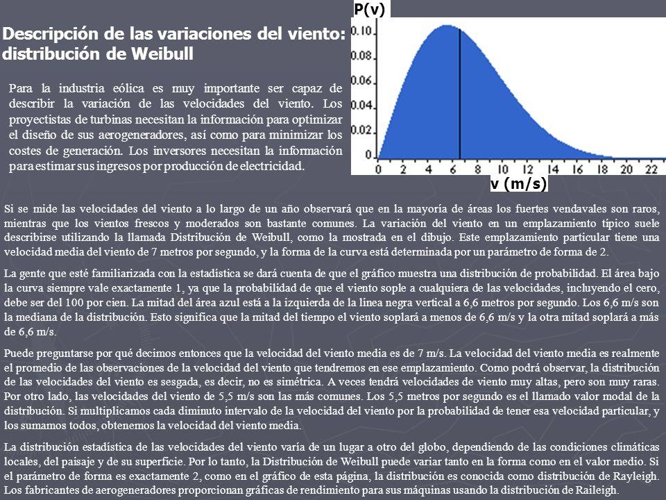 P(v) v (m/s) Para la industria eólica es muy importante ser capaz de describir la variación de las velocidades del viento. Los proyectistas de turbina