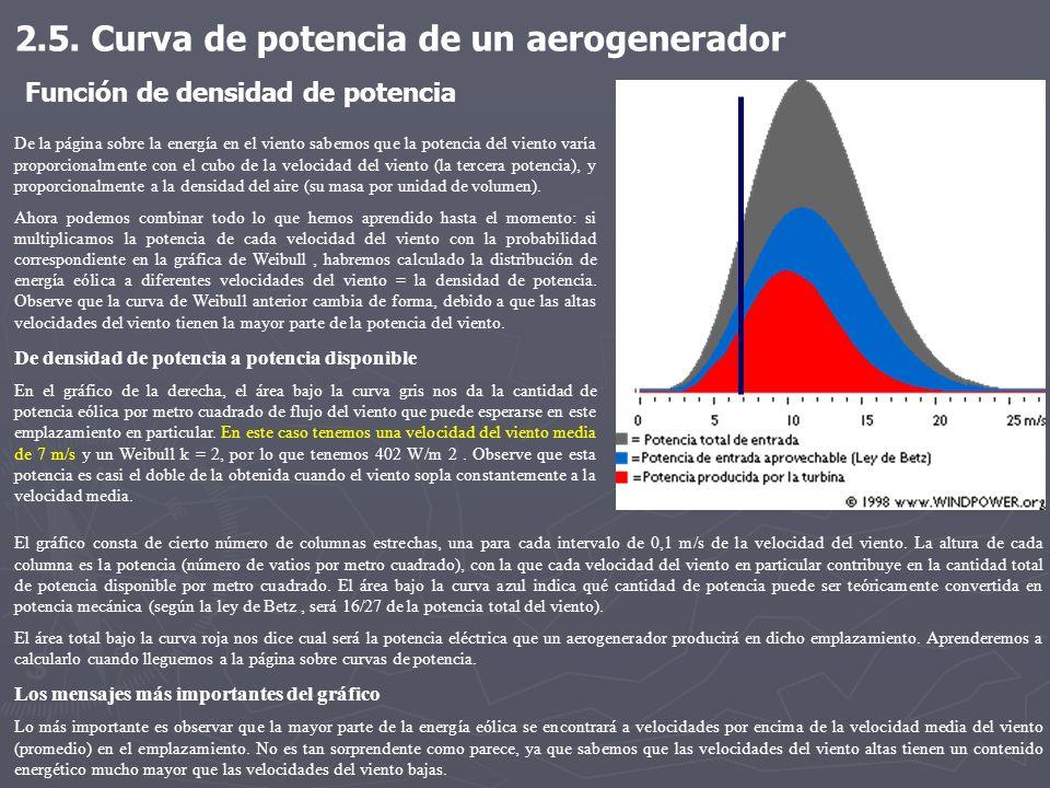 De la página sobre la energía en el viento sabemos que la potencia del viento varía proporcionalmente con el cubo de la velocidad del viento (la terce