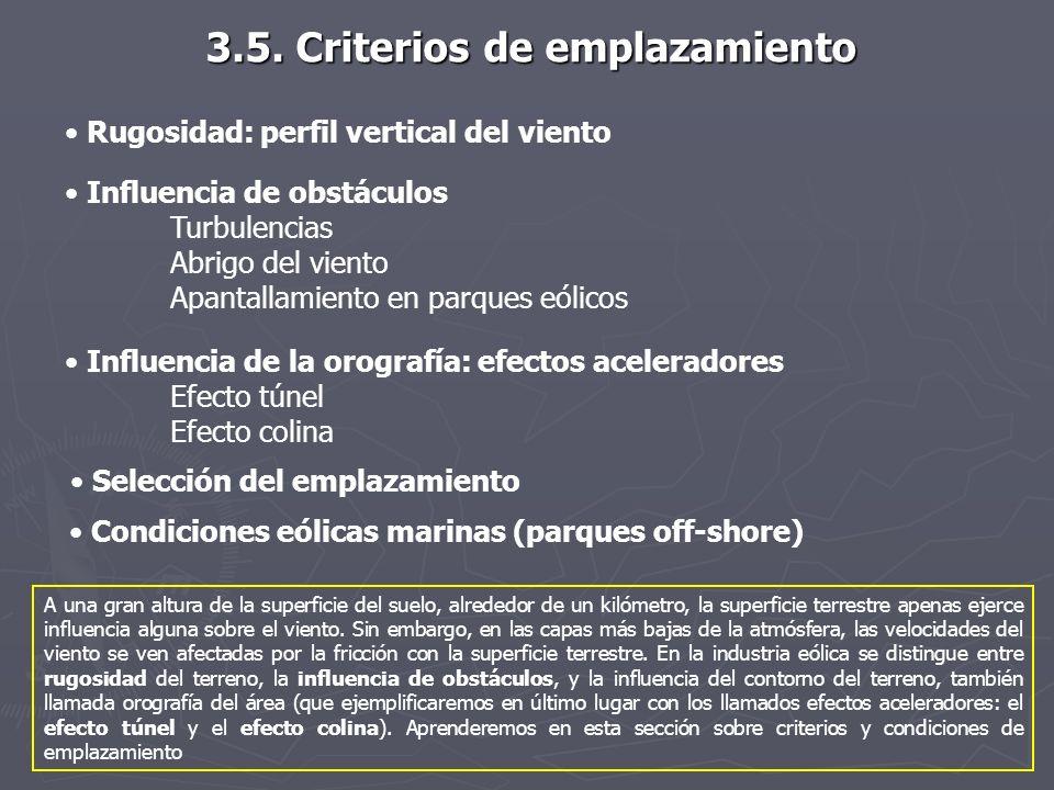 3.5. Criterios de emplazamiento Rugosidad: perfil vertical del viento Influencia de obstáculos Turbulencias Abrigo del viento Apantallamiento en parqu