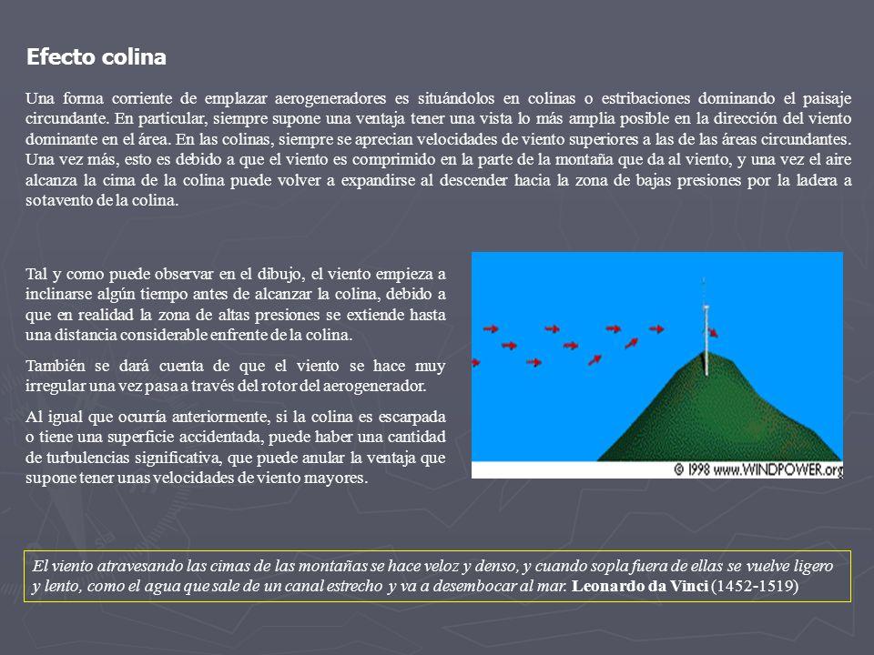 Una forma corriente de emplazar aerogeneradores es situándolos en colinas o estribaciones dominando el paisaje circundante. En particular, siempre sup