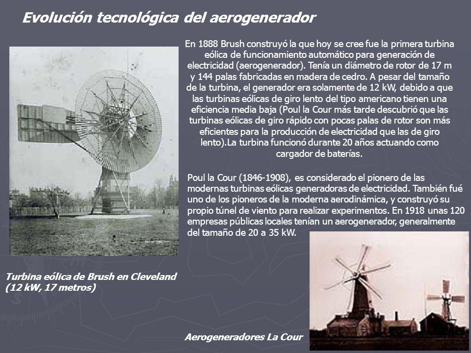 En 1888 Brush construyó la que hoy se cree fue la primera turbina eólica de funcionamiento automático para generación de electricidad (aerogenerador).