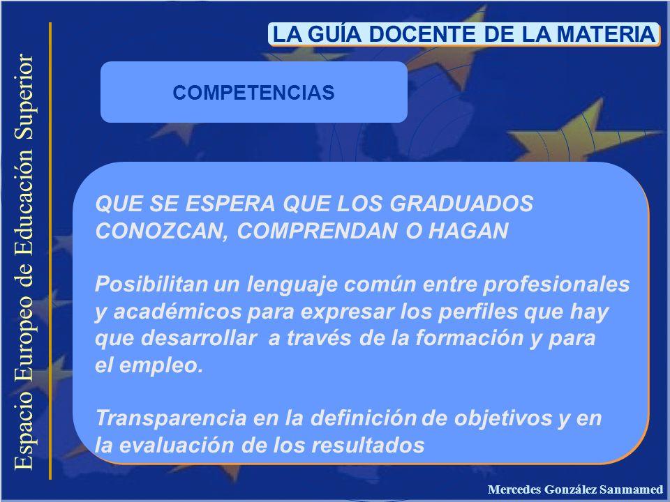 Espacio Europeo de Educación Superior LA GUÍA DOCENTE DE LA MATERIA QUE SE ESPERA QUE LOS GRADUADOS CONOZCAN, COMPRENDAN O HAGAN Posibilitan un lengua