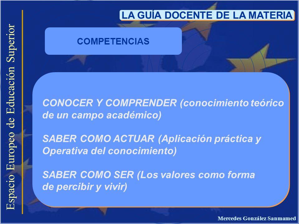 Espacio Europeo de Educación Superior LA GUÍA DOCENTE DE LA MATERIA CONOCER Y COMPRENDER (conocimiento teórico de un campo académico) SABER COMO ACTUA