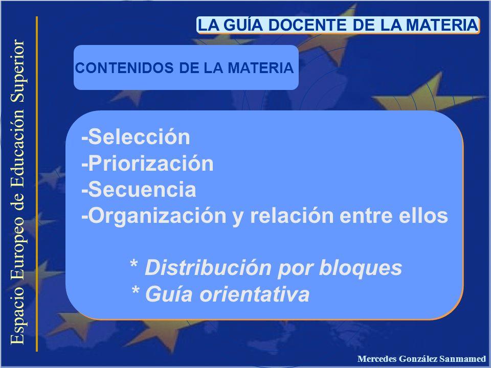 Espacio Europeo de Educación Superior LA GUÍA DOCENTE DE LA MATERIA -Selección -Priorización -Secuencia -Organización y relación entre ellos * Distrib