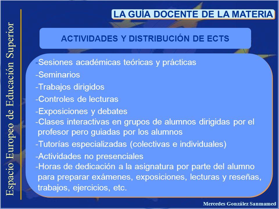 Espacio Europeo de Educación Superior LA GUÍA DOCENTE DE LA MATERIA -Sesiones académicas teóricas y prácticas -Seminarios -Trabajos dirigidos -Control