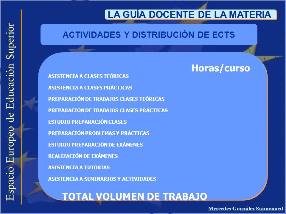 Espacio Europeo de Educación Superior LA GUÍA DOCENTE DE LA MATERIA Horas/curso ASISTENCIA A CLASES TEÓRICAS ASISTENCIA A CLASES PRÁCTICAS PREPARACIÓN