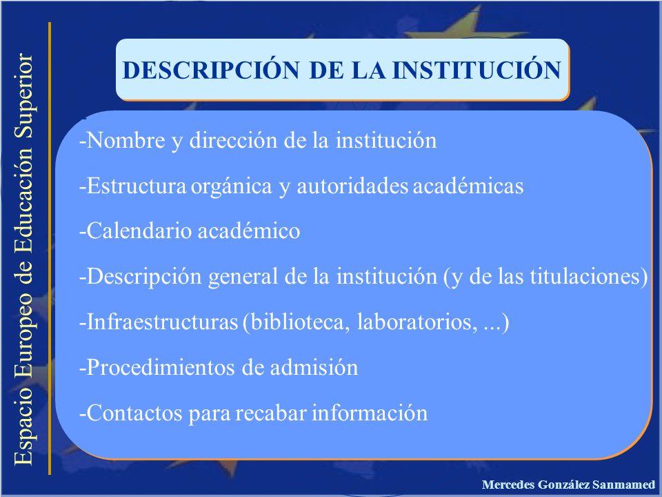 Espacio Europeo de Educación Superior DESCRIPCIÓN DE LA INSTITUCIÓN - -Nombre y dirección de la institución -Estructura orgánica y autoridades académi