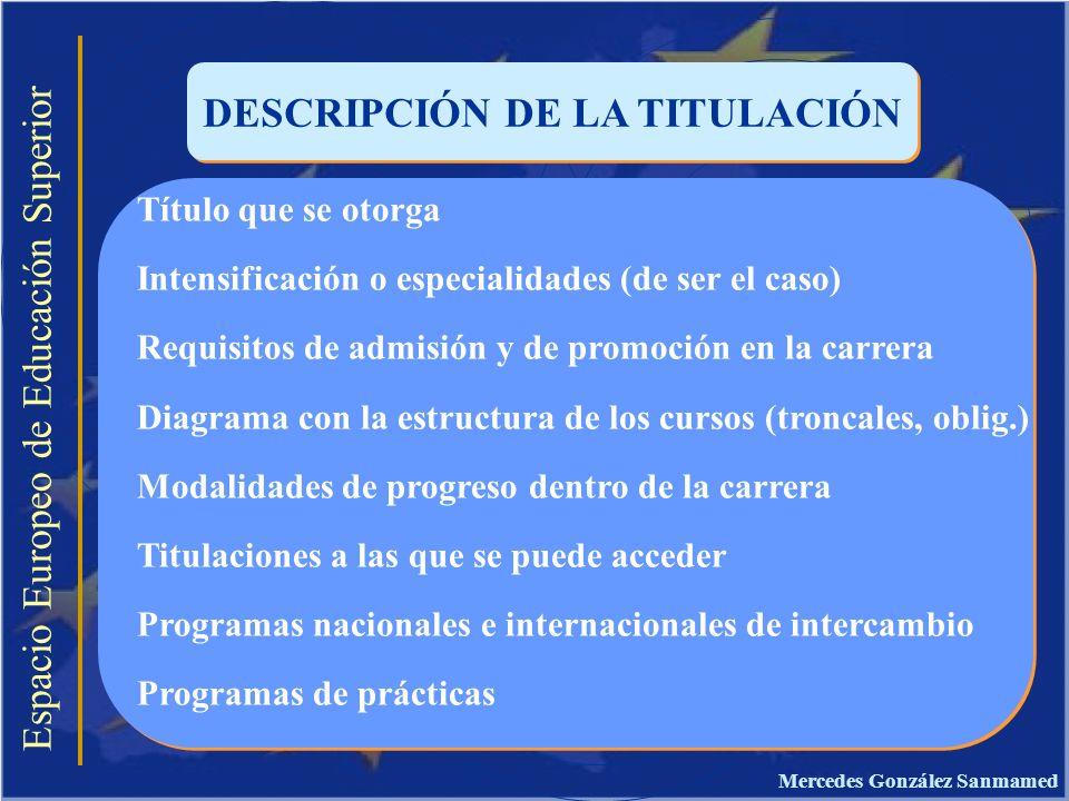 Espacio Europeo de Educación Superior DESCRIPCIÓN DE LA TITULACIÓN Título que se otorga Intensificación o especialidades (de ser el caso) Requisitos d