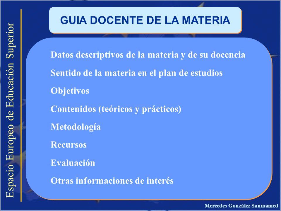 Espacio Europeo de Educación Superior GUIA DOCENTE DE LA MATERIA Datos descriptivos de la materia y de su docencia Sentido de la materia en el plan de