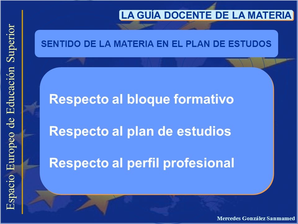 Espacio Europeo de Educación Superior LA GUÍA DOCENTE DE LA MATERIA Respecto al bloque formativo Respecto al plan de estudios Respecto al perfil profe