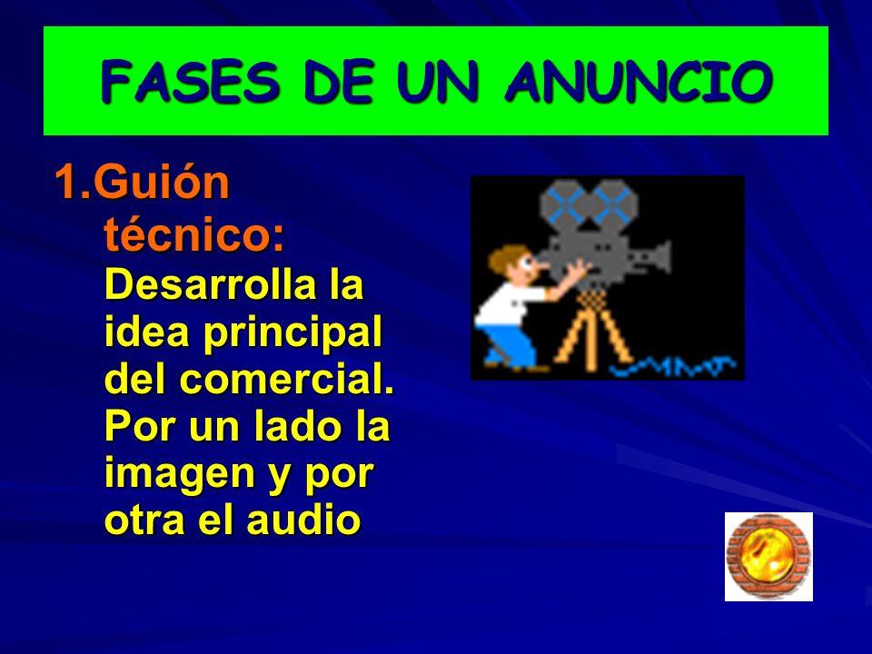 FASES DE UN ANUNCIO 1.Guión técnico: Desarrolla la idea principal del comercial. Por un lado la imagen y por otra el audio