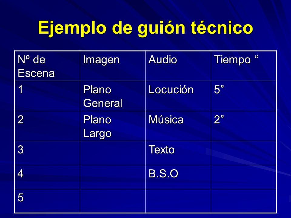 Ejemplo de guión técnico Nº de Escena ImagenAudio Tiempo Tiempo 1 Plano General Locución5 2 Plano Largo Música2 3Texto 4B.S.O 5