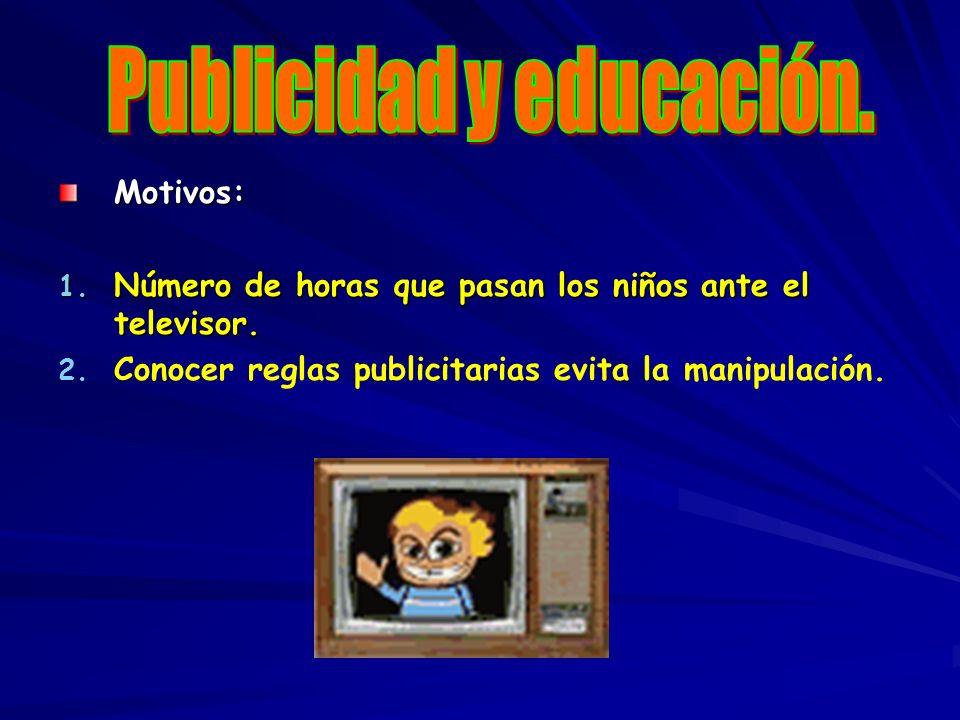 Motivos: 1. Número de horas que pasan los niños ante el televisor. 2. 2. Conocer reglas publicitarias evita la manipulación.