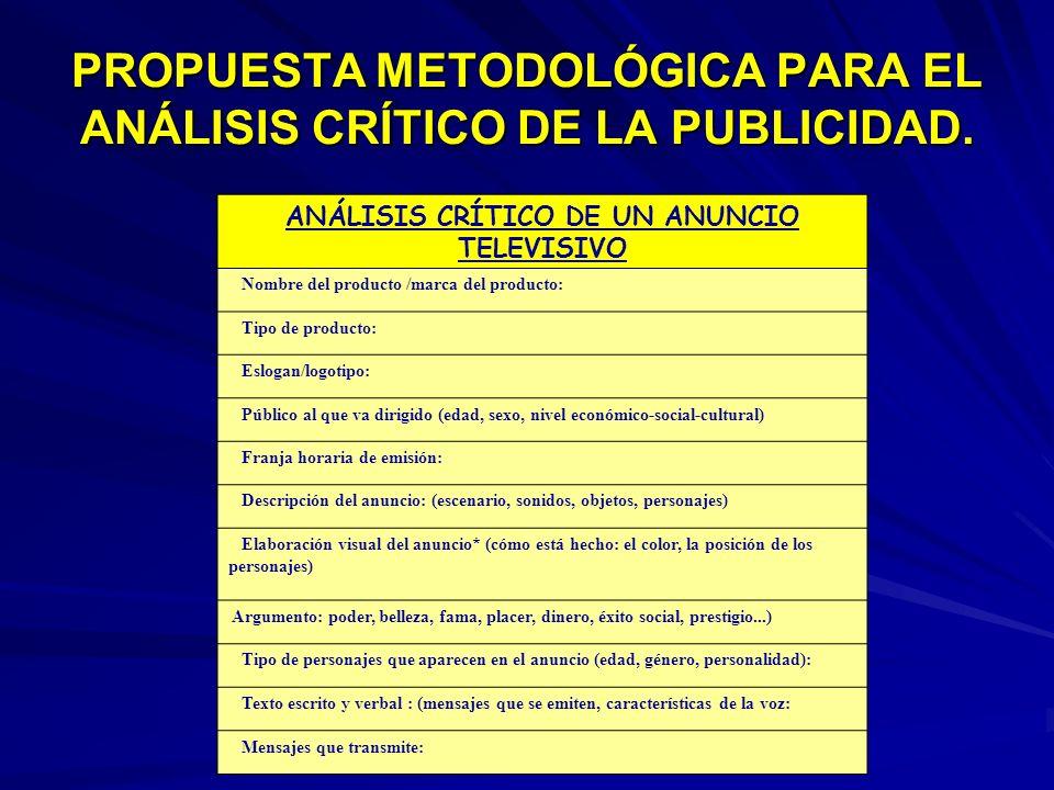 PROPUESTA METODOLÓGICA PARA EL ANÁLISIS CRÍTICO DE LA PUBLICIDAD. ANÁLISIS CRÍTICO DE UN ANUNCIO TELEVISIVO Nombre del producto /marca del producto: T