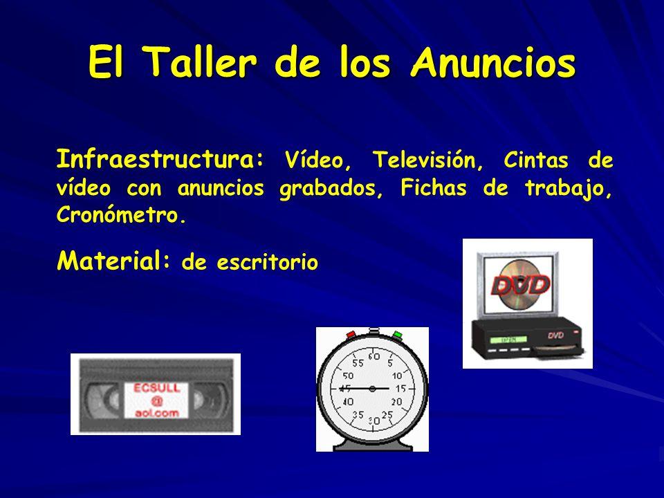 El Taller de los Anuncios Infraestructura: Vídeo, Televisión, Cintas de vídeo con anuncios grabados, Fichas de trabajo, Cronómetro. Material: de escri