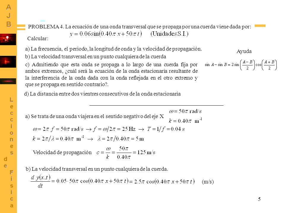 6 c) La onda que se propaga en sentido contrario es La superposición de las dos, llamando y 1 (x,t) a la primera, es: Se invierte la fase de la onda reflejada Onda estacionaria Suma: Procedimiento alternativo: usando la relación trigonométrica PROBLEMA 4 (Continuación) d) La distancia entre dos vientres consecutivos de la onda estacionaria es igual que la distancia entre dos nodos consecutivos (puntos donde la amplitud es nula) Cuando n = 1 Cuando n = 0 Hay un nodo si (n entero) Posiciones de los nodos Distancia entre vientres = distancia entre nodos = (Véase que es la mitad de la longitud de onda de las ondas que interfieren)