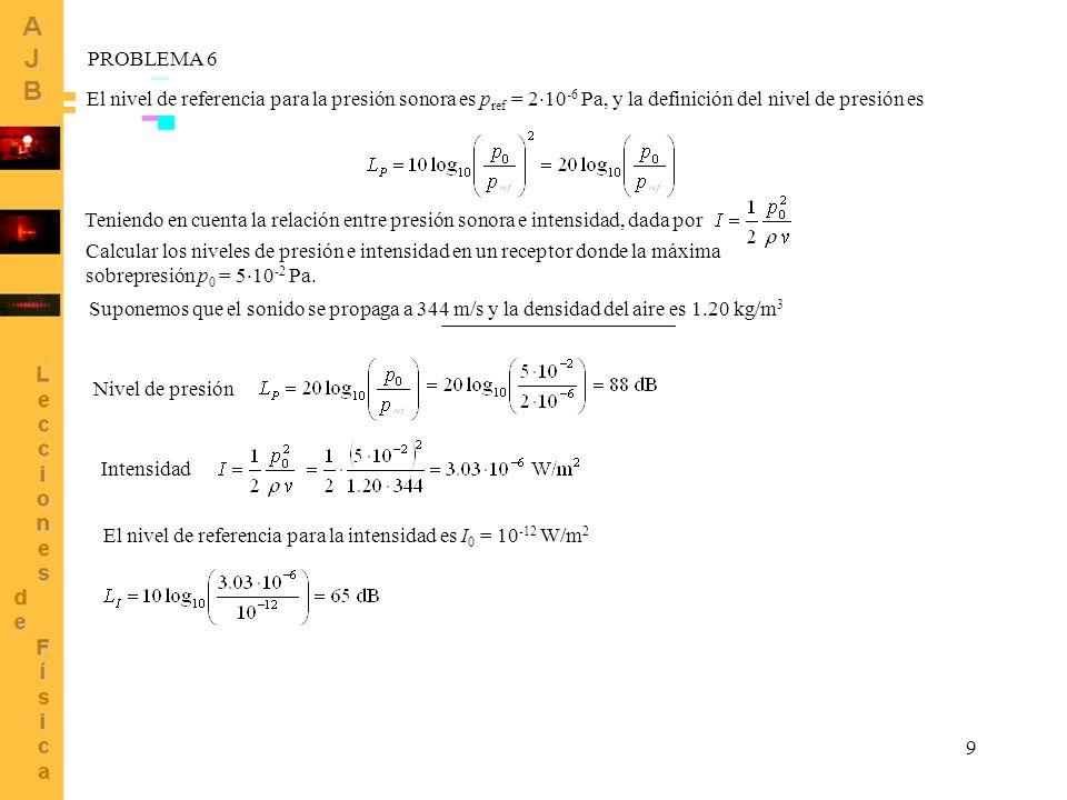 9 El nivel de referencia para la presión sonora es p ref = 2 10 -6 Pa, y la definición del nivel de presión es PROBLEMA 6 Teniendo en cuenta la relaci